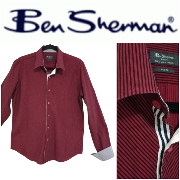 Ben Sherman Striped Red/Blue Shirt Sz L